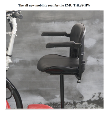The new deluxe seat with armrests for the EMU Trike® HW $150.00